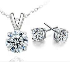 Hearts and Arrows zircon White Gold Plated Necklace earrings Set holiday Gift