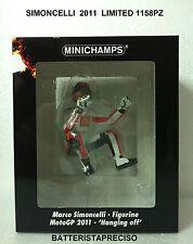 MINICHAMPS SIMONCELLI MARCO 1/12 FIGURE  2011 HONDA HANGING OFF  LIMITED 1158 PZ