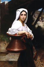 "Oil painting Bouguereau - Italian Girl Drawing Water young beauty canvas 24""x36"""