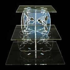 Three Tier Clear Acrylic Square Holly Wedding & Party Cake Stand FREE P&P