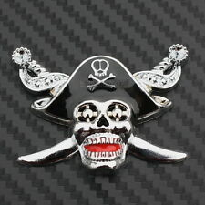 3D Metal Pirate Skull Sword Badge Decal Car Truck Bumper Fender Sticker Chrome