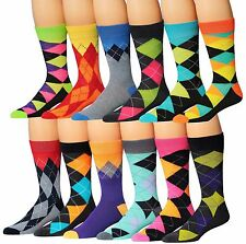 James Fiallo Men's 12-Pairs Funky Colorful Argyle Crew Dress Socks Bold Socks