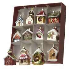 Heaven Sends Set of 12 Glass House Christmas Tree Decorations - Traditional Decs