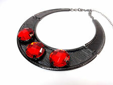 LADIES GUN METAL CHUNKY RED STONE LAYERED STATEMENT CHOKER NEW UNIQUE (ST94)