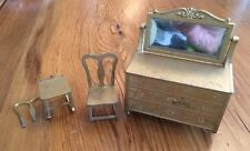 TOOTSIETOY Gold Metal Doll House Furniture Mirrored Dresser Chairs