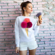 Fashion Women Lady Girl Ice Cream Blouse Top Shirt Long Sleeve Clothes Party New