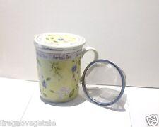 TISANIERA Ceramica ERBE BLU Tazza+Filtro Acciaio+Coperchio Tè/Infusi/Tisane
