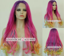 Synthetic Hair Lace Front Wigs Ombre Pink Mixed Color Long Wavy Heat Resistant