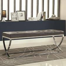 Black Man-Made Leather Bench with Silver Metal Base by Coaster  501156