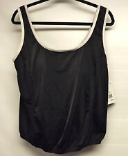 Beach Belle Piped Shortini Bathing Suit TOP-BLACK/WHITE COLOR size 20W NEW