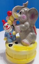 Vintage Aldon Fine Porcelain Elephant & Clown Spinning Music Box 1980