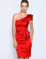 New KAREN MILLEN Red Stretch Satin One Shoulder Peplum Cocktail Dress UK10/AU8