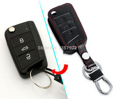 242-LEATHER Black Key Chain Cover SKODA OCTAVIA A7 2015 SUPERB RAPID 2016 REMOTE