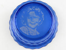 Vintage Cobalt Blue Glass Shirley Temple Cereal Breakfast Bowl Hello Everybody