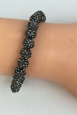 Lisa Freede New $95 Mini Disco Ball Stretch Bracelet Gunmetal Crystals