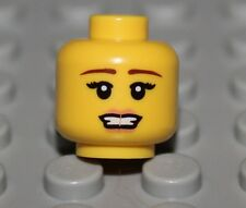 LeGo Yellow Female Head Brown Straight Brows Pink Lips Open Mouth NEW