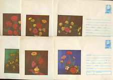 Romania 1976, 6 Flowers Unused Stationery Pre-Paid Envelopes Covers #C21404