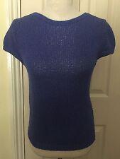 BNWT Zara Knit Women Blue Short Sleeve Top Size M RRP£25.99