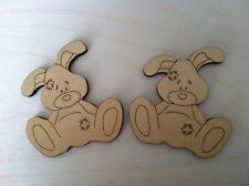 X5 Wooden Rabbit Shapes, Craft, Embellishment