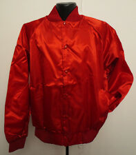 SOLID RED NYLON SATIN MEDIUM JACKET COAT MENS ADULT VINTAGE RETRO CREW SNAP COOL