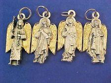 Lot 4 Archangel St Medals Michael Uriel Gabriel Raphael Gold Plate Saint Italy