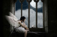 Framed Print - Gothic Winged Angel Chained to a Window (Picture Poster Art)
