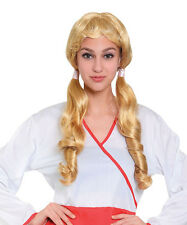 Long Blonde Wig With Pigtails Oktoberfest School Girl Fancy Dress Prop