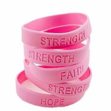 12 Pink RIBBON Breast Cancer Awareness Bracelets STRENGTH HOPE Faith Survivor