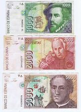 SPAIN 1000 2000 5000 PESETAS 1992 EXPLORERS = PIZARRO MUTIS COLUMBUS HIGH GRADE