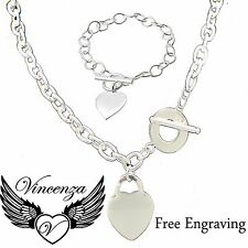 Heart Pendant Charm Engraved Name Necklace Bracelet Silver Plated Jewellery UK