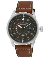 CITIZEN AW1360-12H Eco-Drive Aviator Pilot Power Reserve Brown Leather Watch