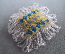 ANTIQUE VICTORIAN BEADWORK BEADED SEWING NEEDLEWORK PIN CUSHION - c1860