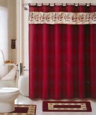 18 pc Bath rug set oakland Burgundy gold bathroom shower curtain/rings towels