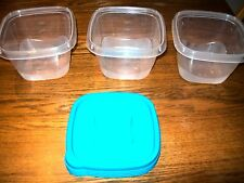 Set of 3 StarPlast Food Containers 5 Cup Capacity Clear with 4 Green Lids