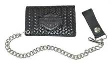 Harley-Davidson Men's B&S Basket Weave Tri-Fold Biker Chain Wallet Black BH338