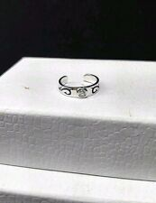 GUESS COLLECTION Sterling Silver 925 -Bezel- CZ 1.4g -Adjustable- Toe Ring 3.5