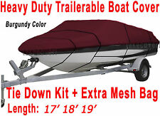 V-Hull Fish Ski I/O 17' 18' 19' Boat Trailerable Cover Burgundy Color FT B2558R