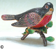 ROBIN~ ENAMEL & BEJEWELED TRINKET BOX  #4019