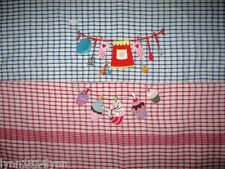2 LARGE EMBROIDERED TEA TOWELS featuring UTENSIL & CUPCAKE CLOTHES LINE