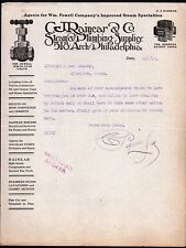 1912 Steam & Plumbing Supplies - C J Rainear - Philadelphia Pa - Letter Head