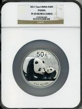 2011 5 oz  SILVER CHINA PANDA NGC PF 69 UCAM S 50 YUAN INCLUDES COA!!