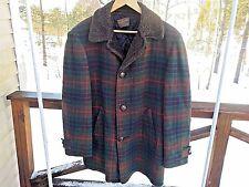 Pendleton Mens L Vintage Retro 60s 70s Wool Plaid Insulated Faux Fur Jacket Coat