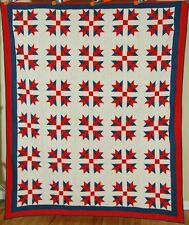 OUTSTANDING Vintage Mennonite Goose Tracks Red & Green Antique Quilt ~MINT!