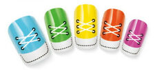 White Shoe Lace Design Nail Art Water Decal Sticker For Natural/False Nails