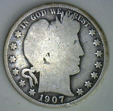 1907 Barber Half Dollar Silver Type Coin Fifty Cent 50 Cents Good Philadelphia