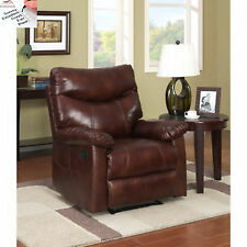 Brown Leather Recliner Faux Traditional Glider Club Chair Reclining Footrest