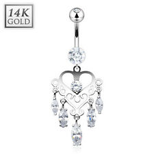 14K Solid WHITE GOLD BELLY BUTTON NAVEL RING Body Jewelry *MARQUISE GEM DANGLE