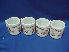 "Set of 4 Anchor Hawking Milk Glass Tom and Jerry Cups Eggnog Mugs 3"" by 3"""