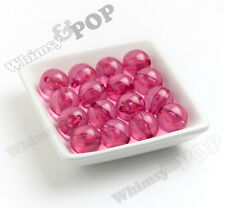 20mm 10pcs Bubblegum Pink Transparent Bubble Gum Beads, Chunky, Acrylic, Round