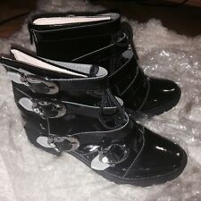 Cosplay X Japan Yoshiki fashion shoes boots PU patent leather buckles belts